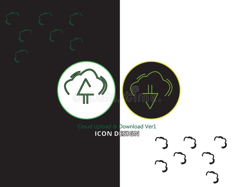 Symbolsmolnet laddar upp nedladdning med svartvit bakgrund för två stil royaltyfri illustrationer