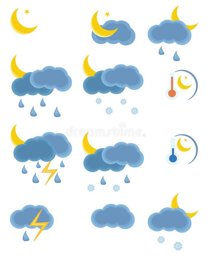 symbolsnattväder vektor illustrationer