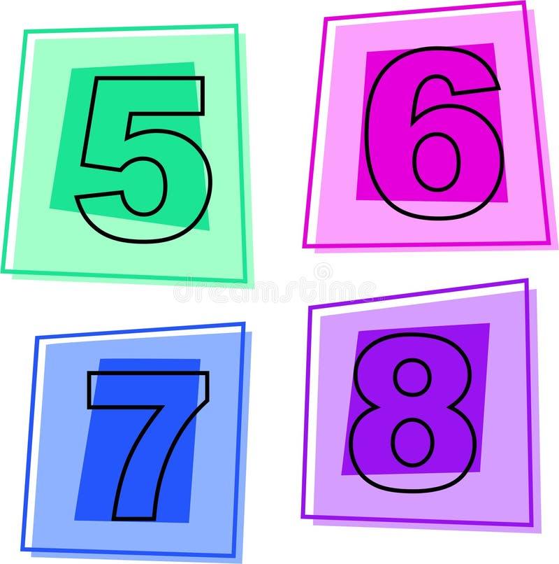 symbolsnummer vektor illustrationer