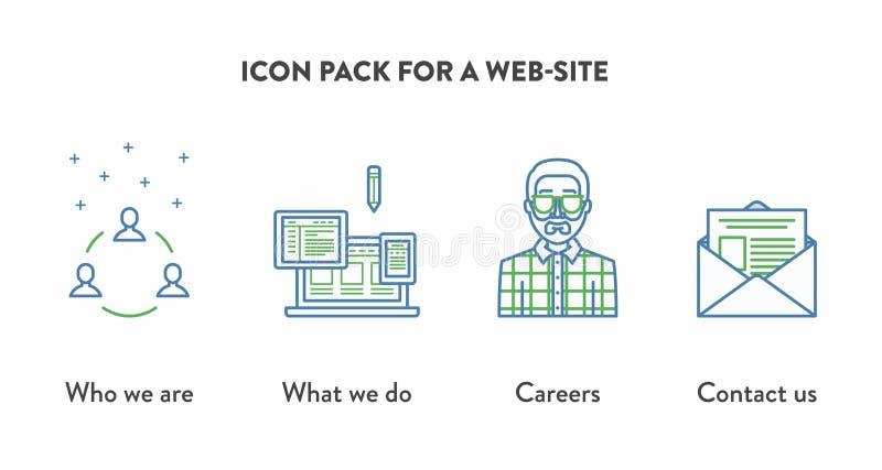 Symbolspacke för en website med symboler som visar vem arkivfoto