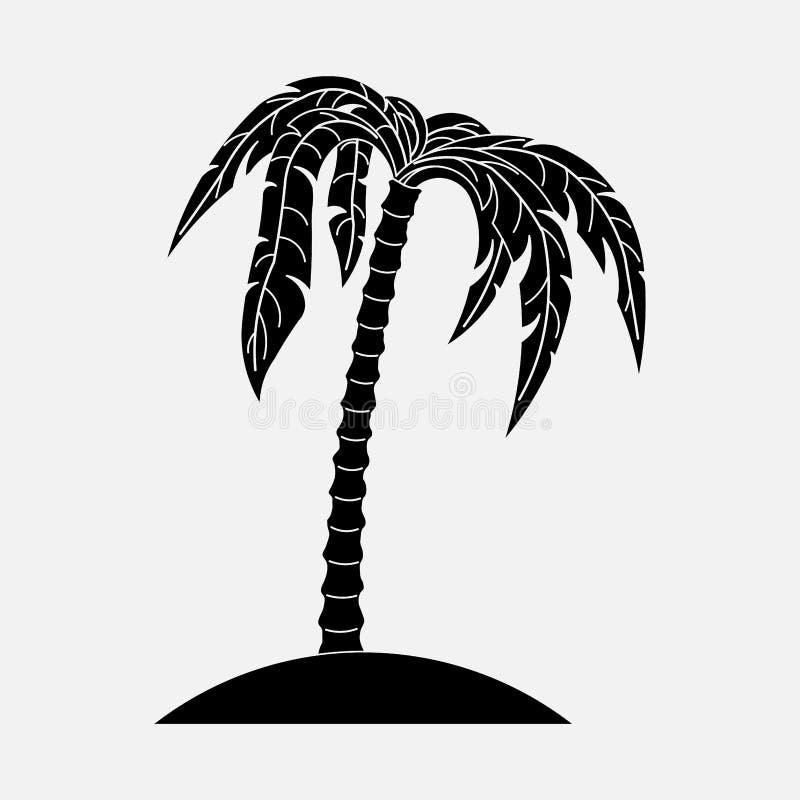 Symbolspalmträd, sommar, strand royaltyfri illustrationer