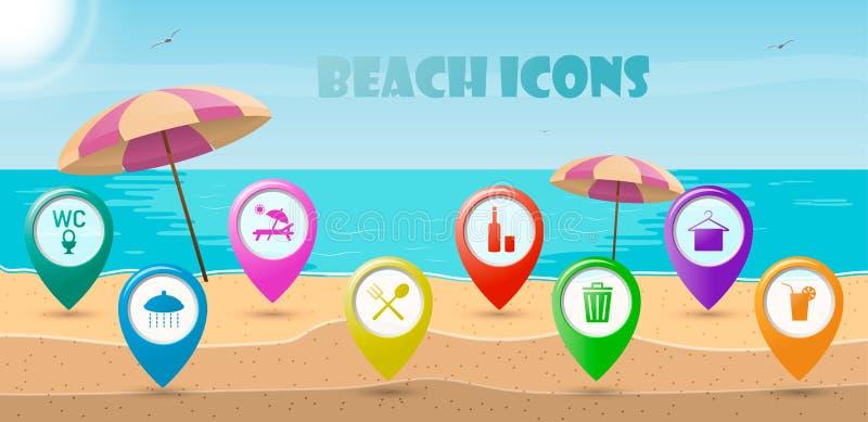 Symbolspekare för att koppla av på den soliga stranden stock illustrationer