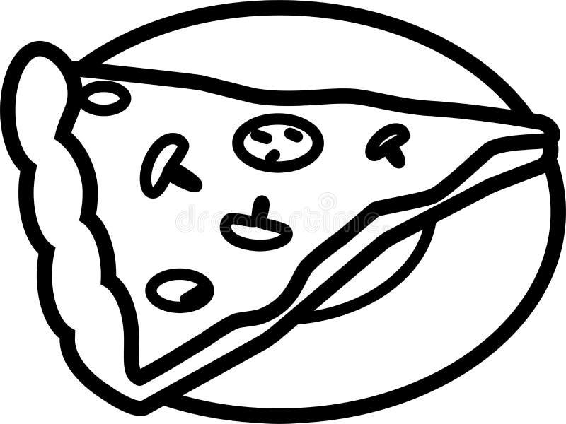 Symbolspizza med champinjoner, tomater och chees royaltyfri illustrationer