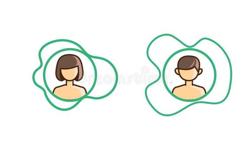 Symbolspojke och flicka i asymmetri stock illustrationer