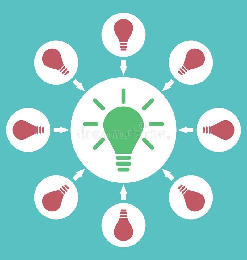 Symbolsprocess av att frambringa idéer att lösa problem, födelse av royaltyfri illustrationer