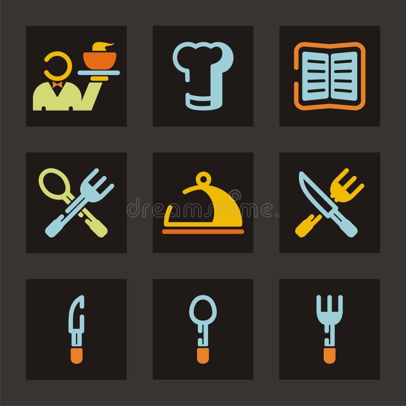 symbolsrestaurangserie stock illustrationer