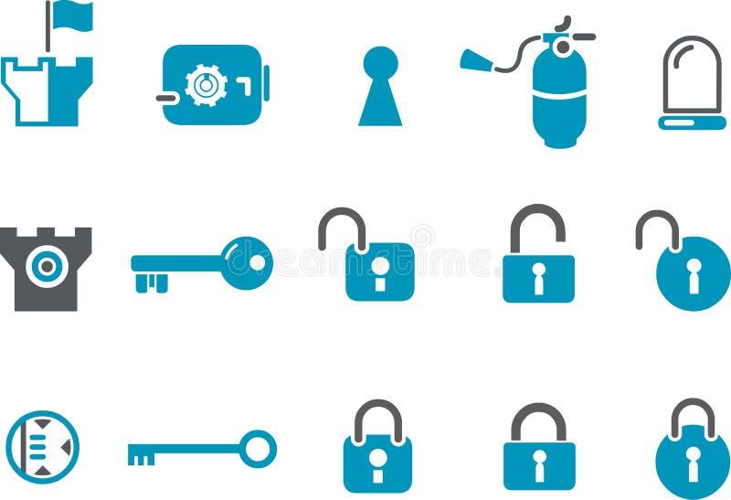 symbolssäkerhetsset stock illustrationer
