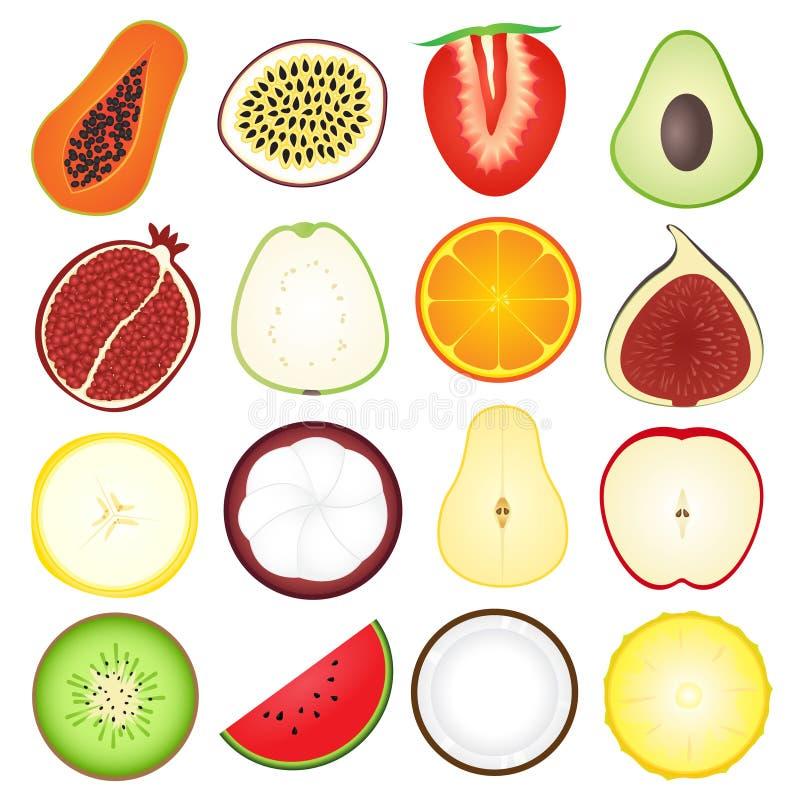 Symbolssamling för nya frukter royaltyfri illustrationer