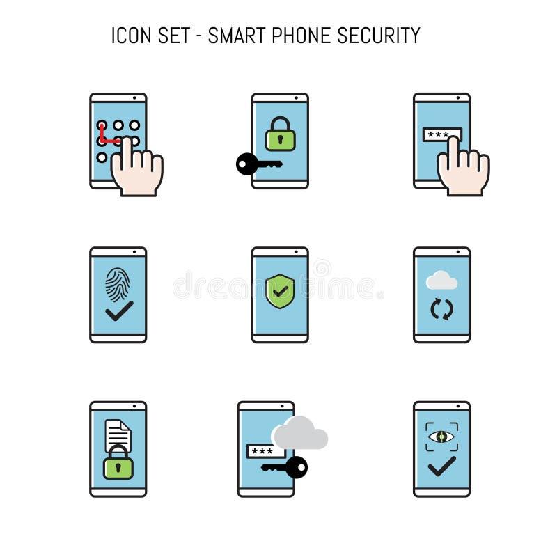 Symbolssamlingspacken med den smarta telefonen, mobila säkerhetsbegrepp lägger framlänges design royaltyfri illustrationer