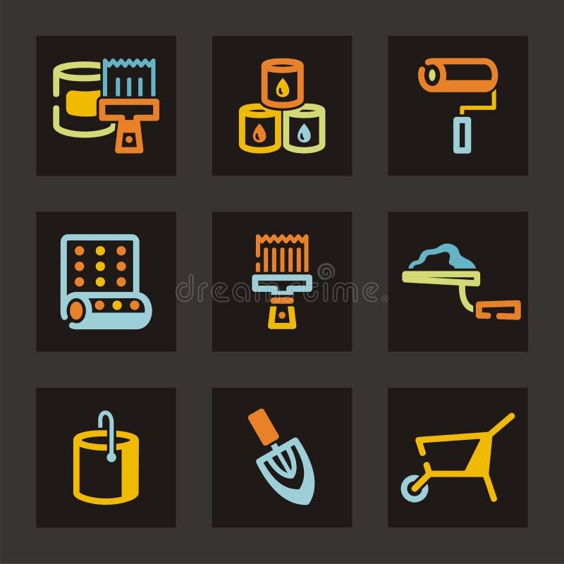 symbolsseriehjälpmedel stock illustrationer