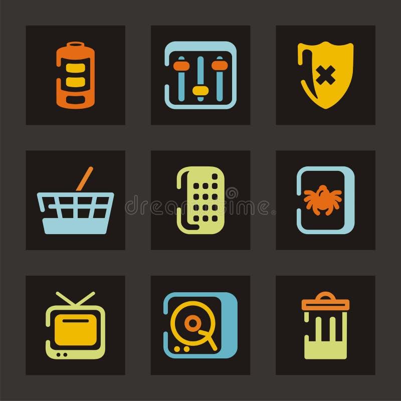 symbolsserieteknologi stock illustrationer