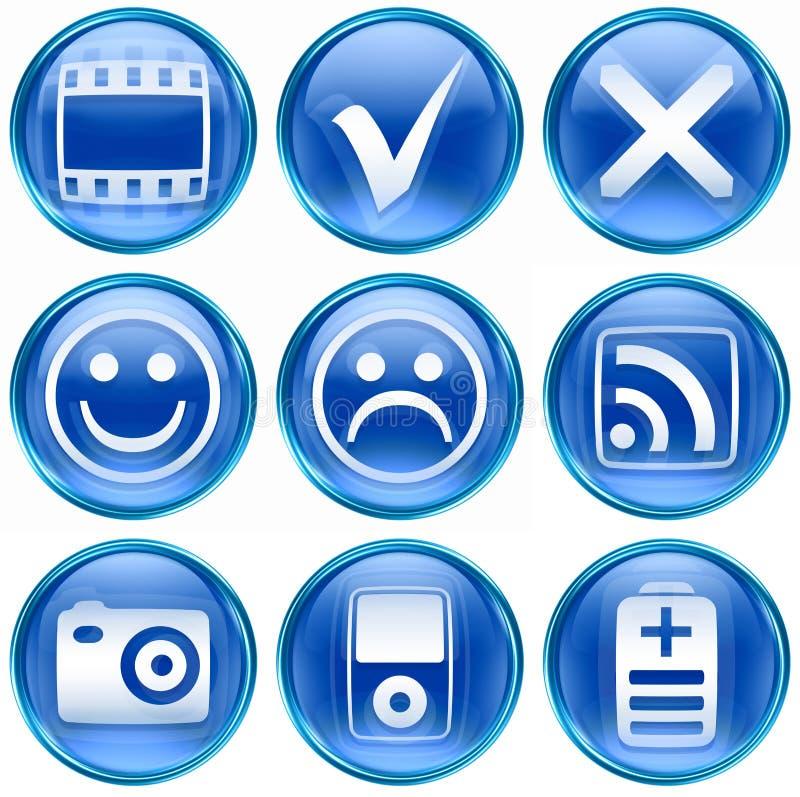 symbolsset för 13 blue vektor illustrationer