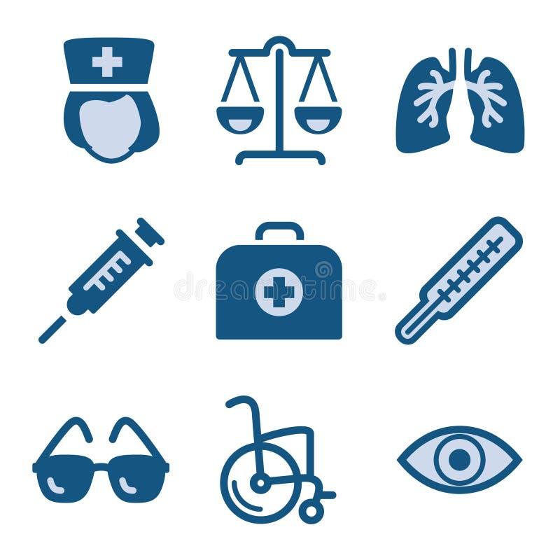 symbolsset för 13 blue royaltyfri illustrationer