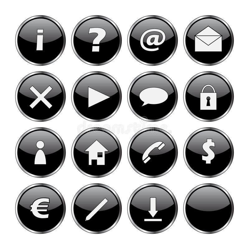 symbolsset för 16 svart knappar stock illustrationer