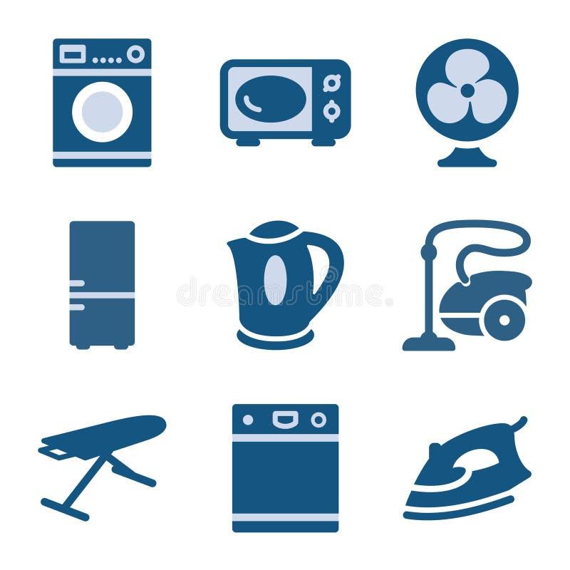 symbolsset för 18 blue royaltyfri illustrationer