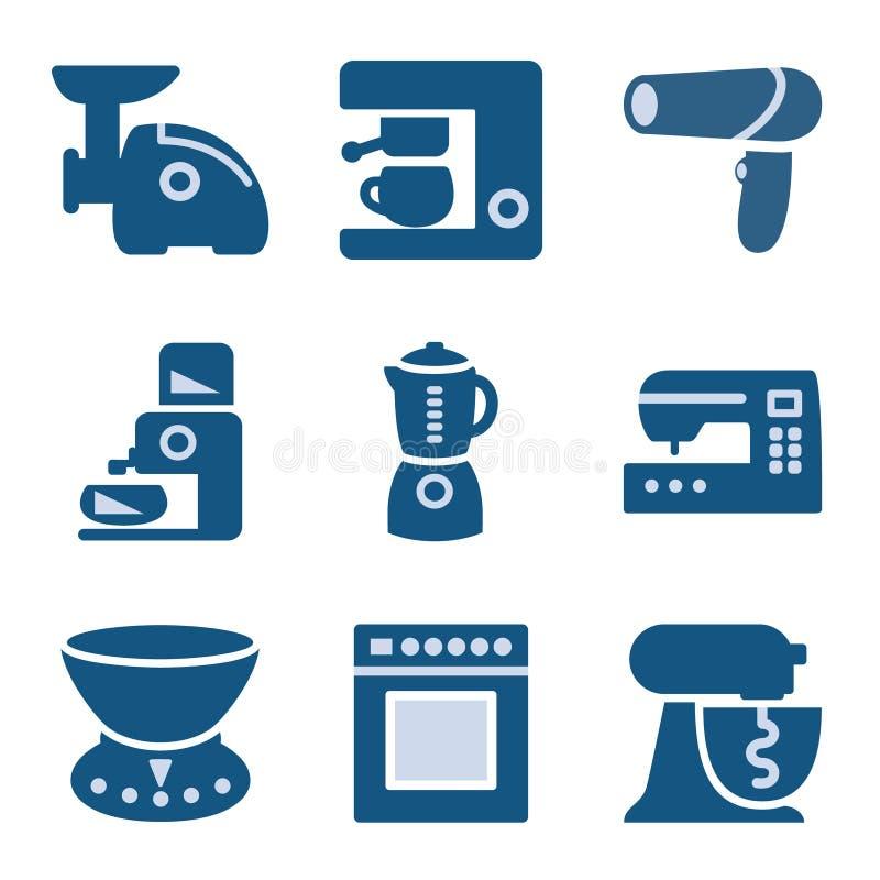symbolsset för 19 blue stock illustrationer