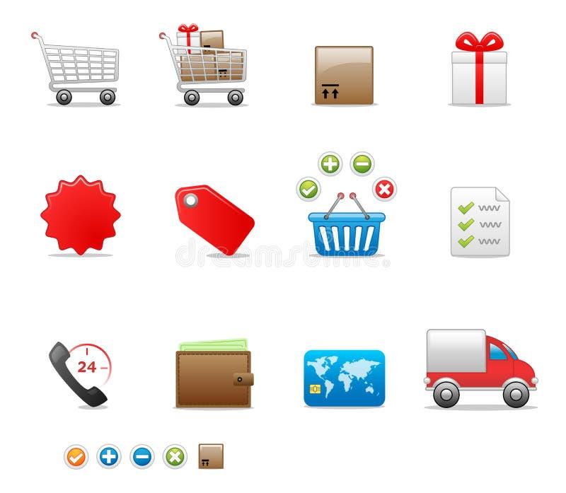 symbolsseten shoppar stock illustrationer