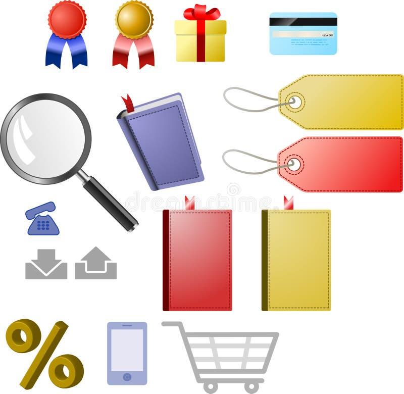 symbolsseten shoppar vektor illustrationer