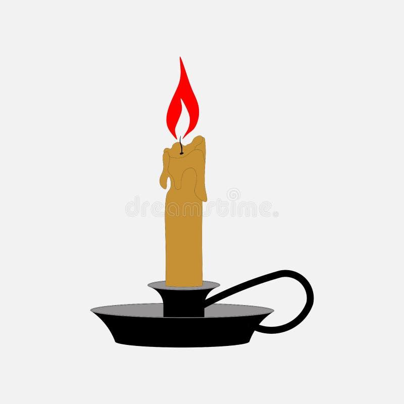 Symbolsstearinljus i en ljusstake, hem- belysning vektor illustrationer