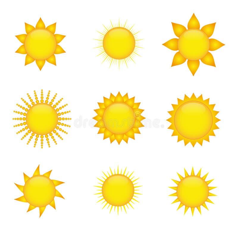 symbolssun vektor illustrationer