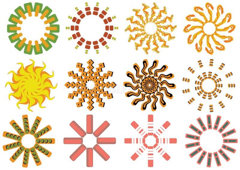 symbolssunvektor stock illustrationer