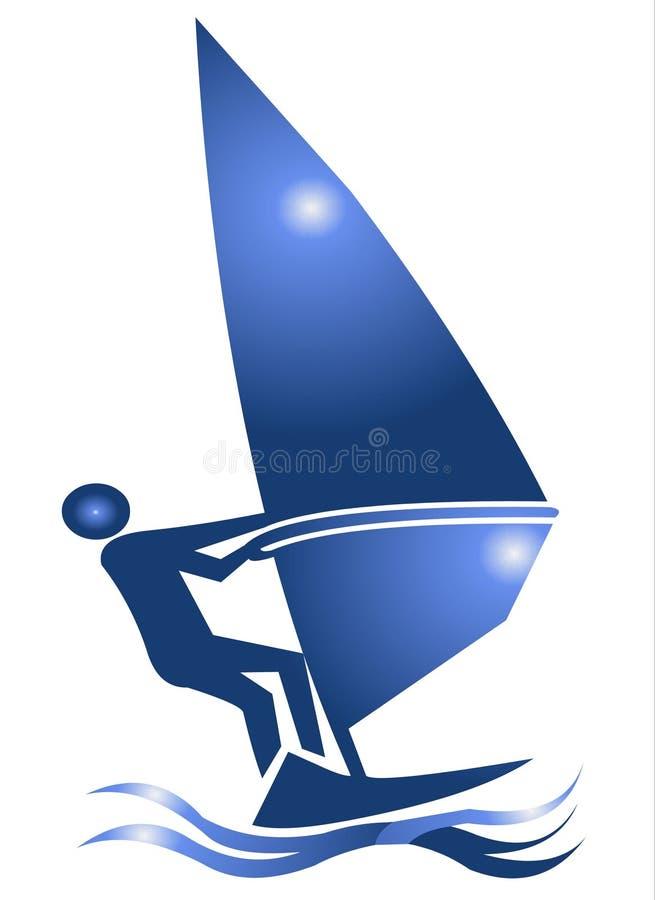 symbolssymbolet vindsurfar vektor illustrationer