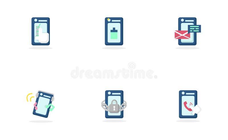 Symbolstelefon, social massmediagemenskapvektor, plan design stock illustrationer