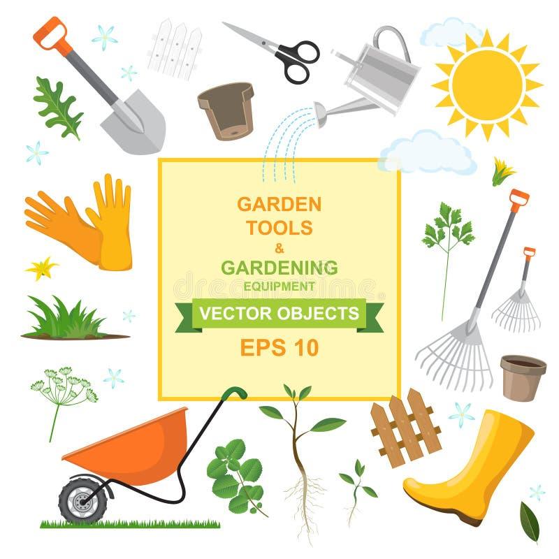 Symbolsuppsättning av den olika sorten som arbeta i trädgården hjälpmedel, utrustning, grönsaker och växter Färgrika designer av  stock illustrationer