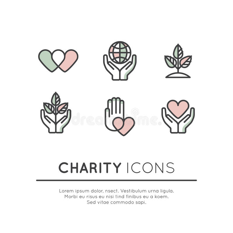 Symbolsuppsättning av grafiska beståndsdelar för ideella organisationer och donationmitt royaltyfri illustrationer