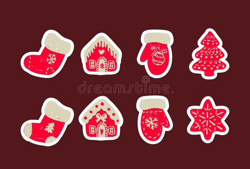 Symbolsuppsättning av gullig julsaker Uppsättning av drog sockor, huset, handskar och trädet för vektor det hand stock illustrationer