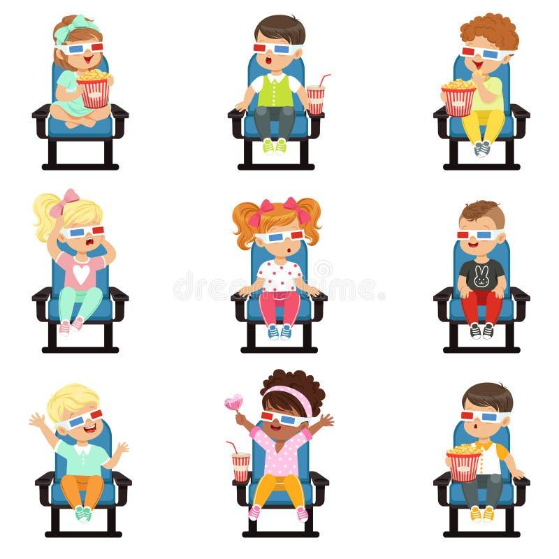 Symbolsuppsättning av gulliga små barn i 3D-glasses stock illustrationer