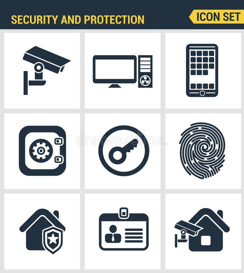 Symbolsuppsättning av högvärdig kvalitet av det olika systemet för skydd för säkerhetsobjekt, informations- och data royaltyfri illustrationer