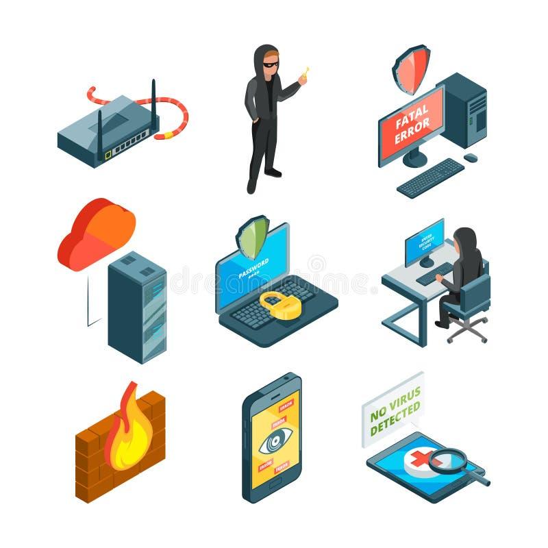 Symbolsuppsättning av internetsäkerhet Rengöringsdukskydd mekaniskt tangentbord för attackfelhacker royaltyfri illustrationer