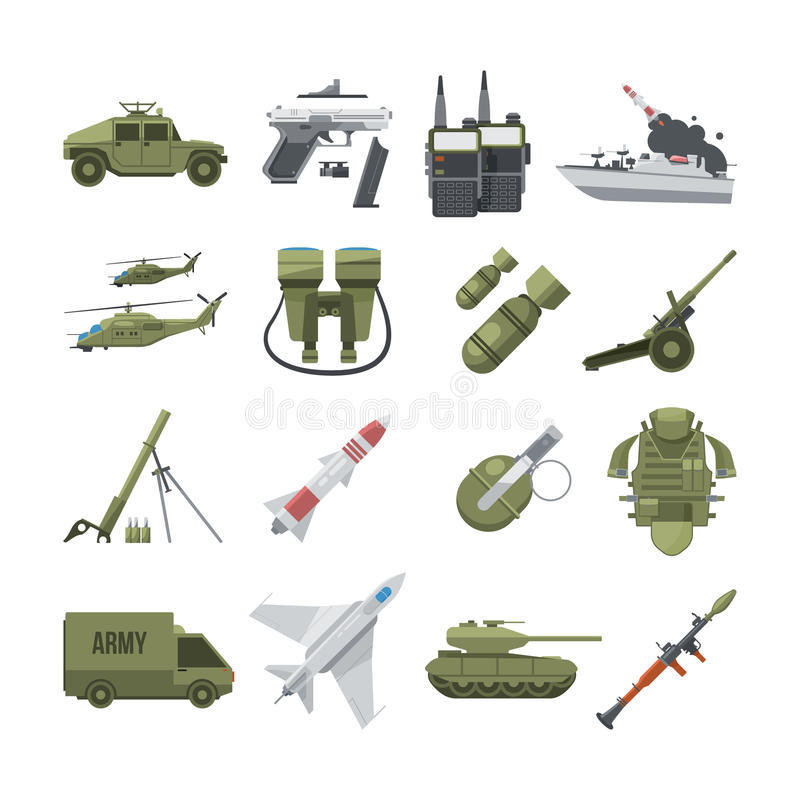 Symbolsuppsättning av olika armévapen Militär- och polisutrustning Vektorbilder i plan stil vektor illustrationer