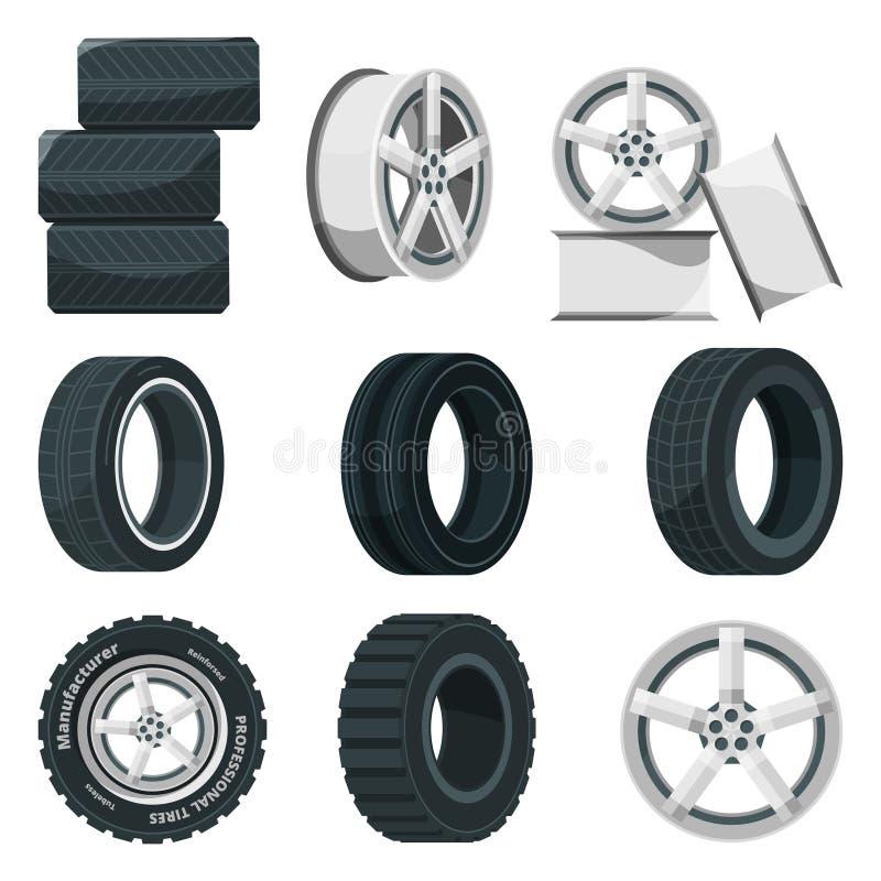 Symbolsuppsättning av olika skivor för hjul och gummihjul Vektorbilduppsättning i tecknad filmstil stock illustrationer