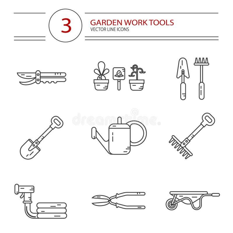 Symbolsuppsättning av trädgårds- arbetshjälpmedel stock illustrationer