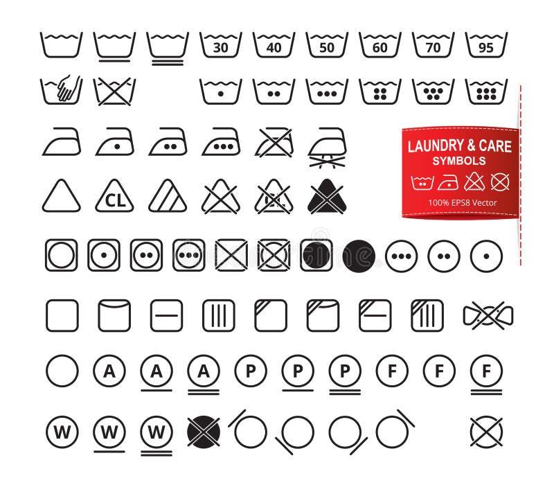 Symbolsuppsättning av tvätteri och omsorgsymboler stock illustrationer