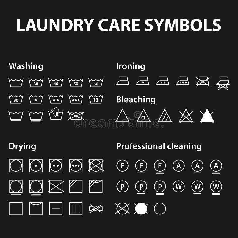 Symbolsuppsättning av tvätterisymboler Tvagninganvisningssymboler Torkduken textilomsorg undertecknar samlingen stock illustrationer
