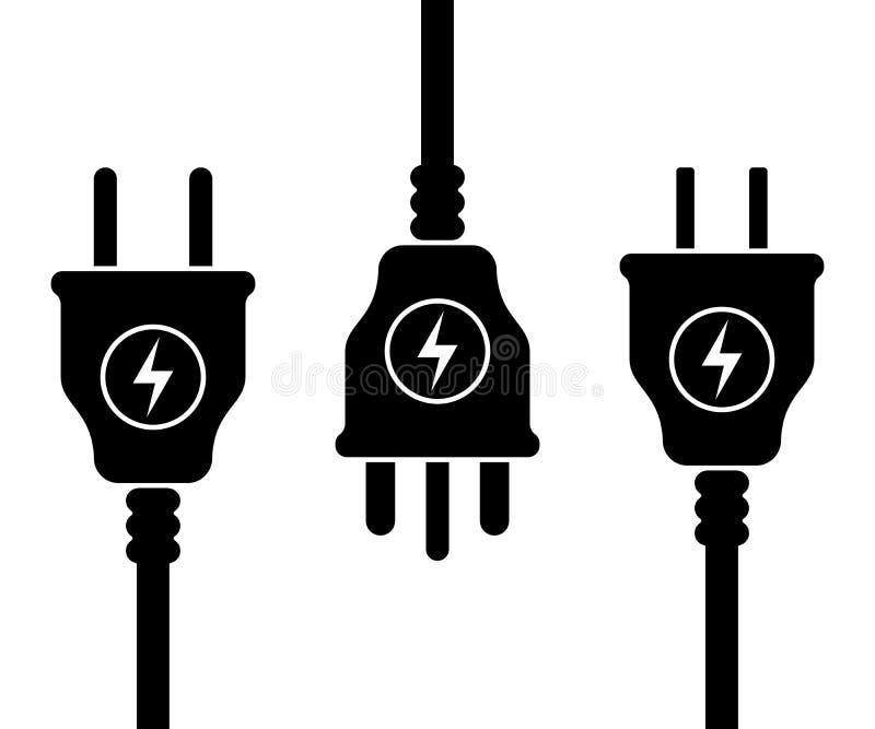 Symbolsuppsättning av UK, USA, europeiska elektriska proppar royaltyfri illustrationer