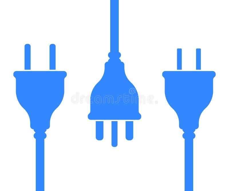 Symbolsuppsättning av UK, USA, europeiska elektriska proppar stock illustrationer