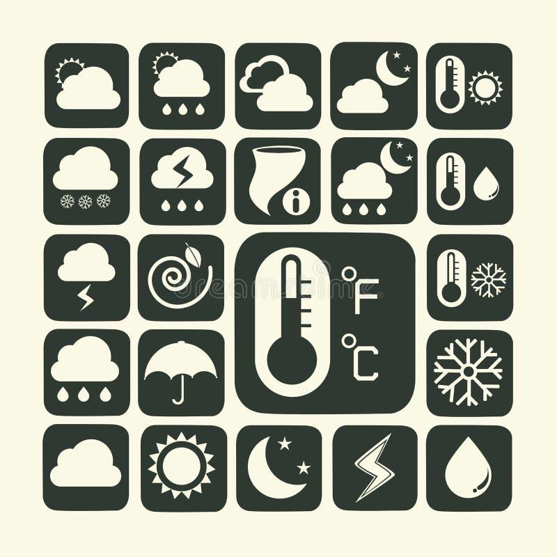 Symbolsuppsättning av väder royaltyfri illustrationer