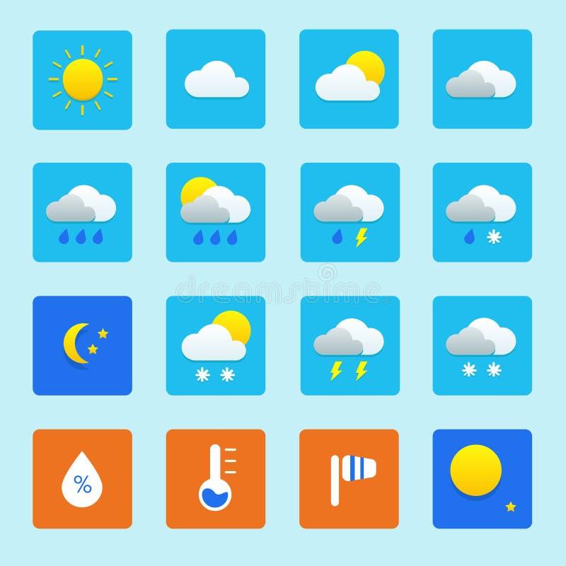 Symbolsuppsättning av vädersymboler med snö, regn, solen och moln vektor illustrationer
