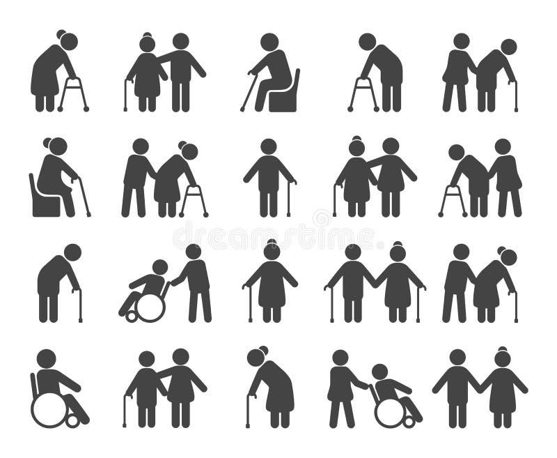 Symbolsuppsättning för äldre folk vektor illustrationer