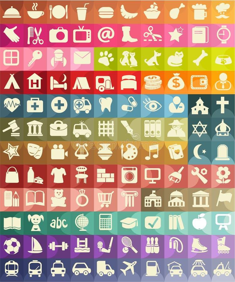Symbolsuppsättning för användbara ställen stock illustrationer