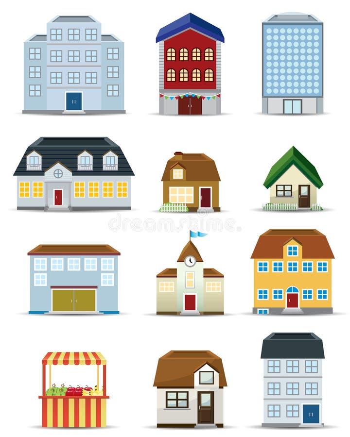 symbolsuppsättning för byggnad 3d stock illustrationer