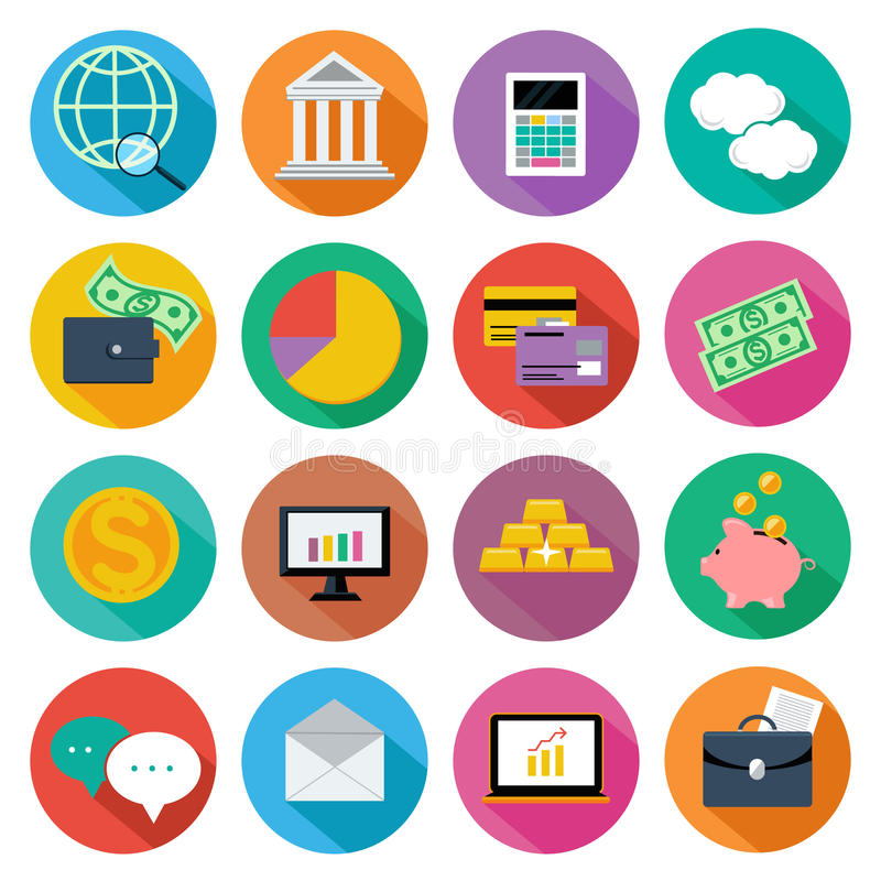 Symbolsuppsättning för finans, investeringledning vektor illustrationer