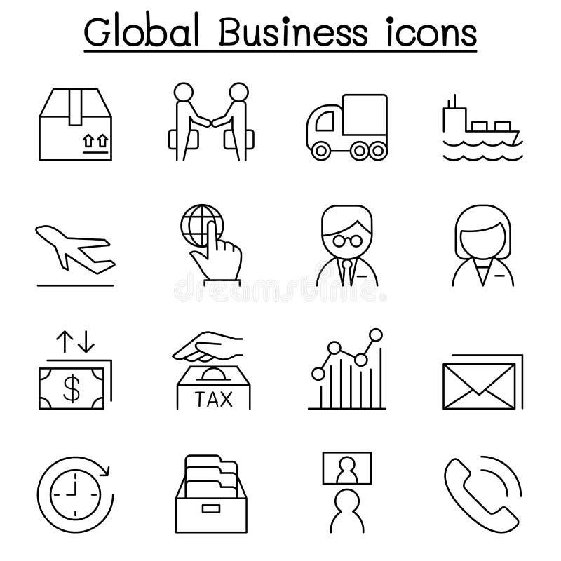 Symbolsuppsättning för global affär i den tunna linjen stil royaltyfri illustrationer