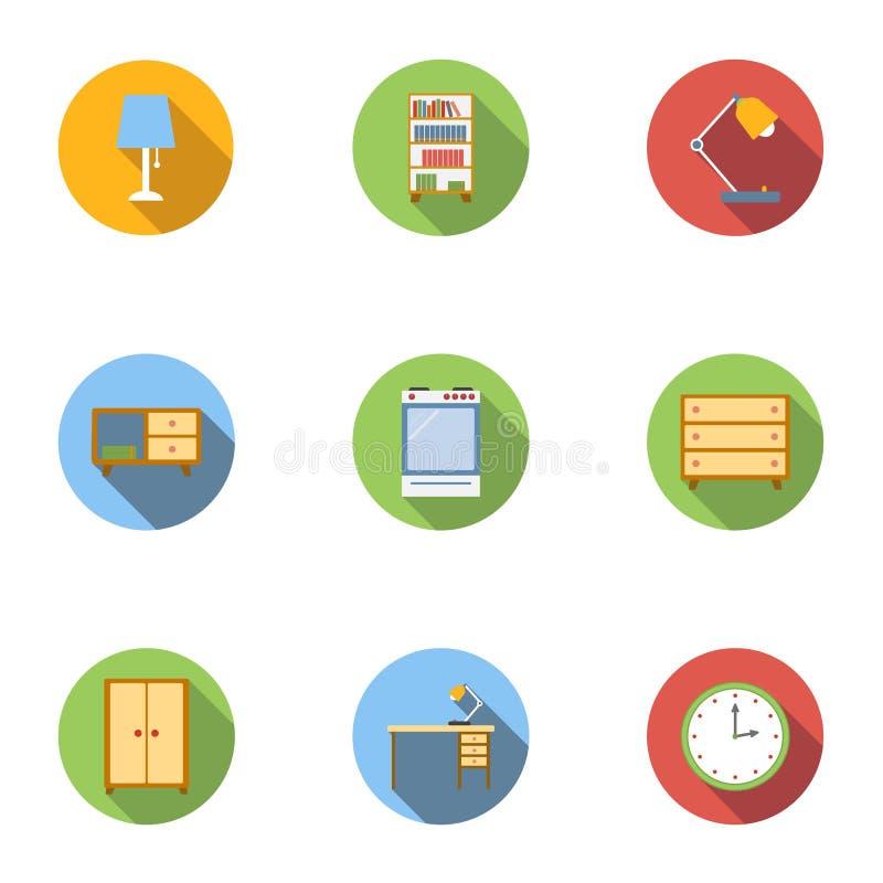 Symbolsuppsättning för hem- inredningar, lägenhetstil vektor illustrationer