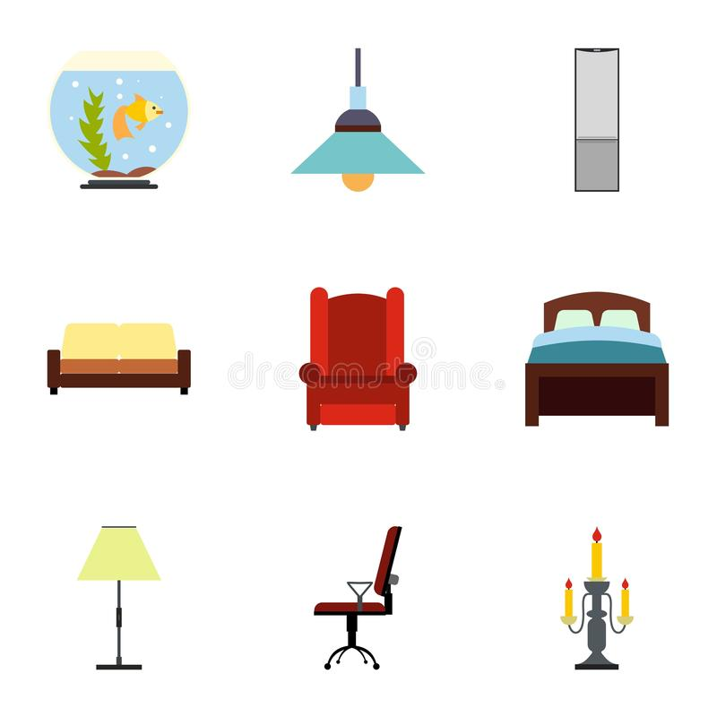 Symbolsuppsättning för hem- inredningar, lägenhetstil royaltyfri illustrationer