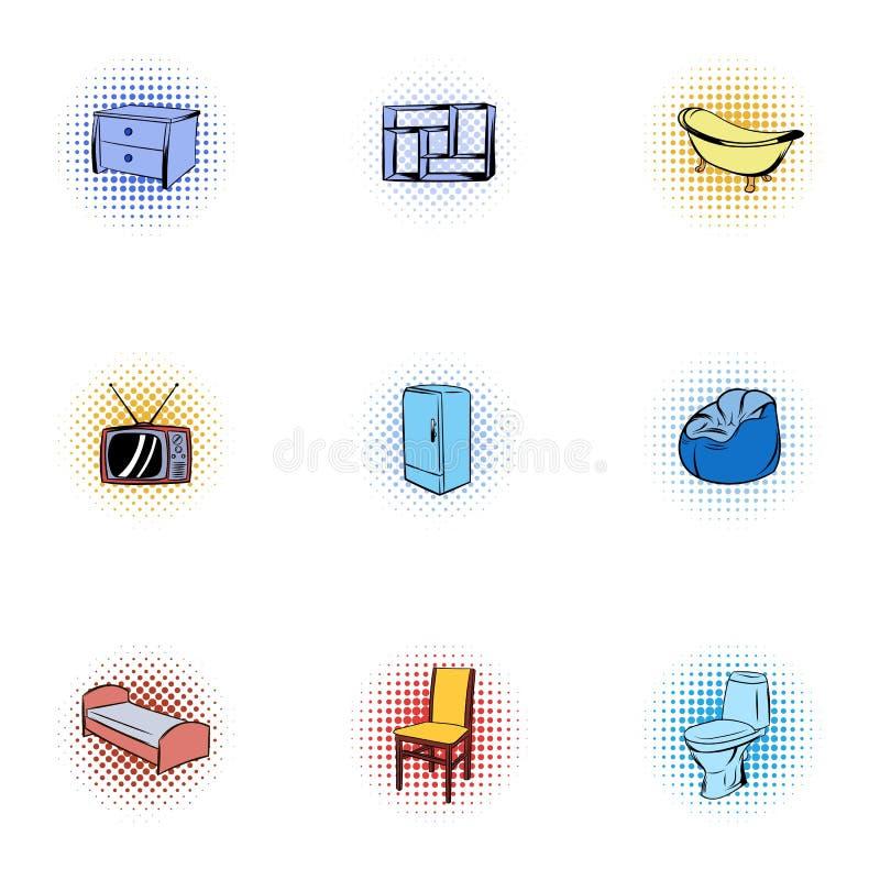 Symbolsuppsättning för hem- inredningar, pop-konst stil stock illustrationer